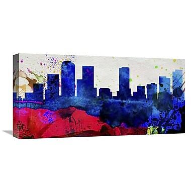 Naxart 'Denver City Skyline' Graphic Art on Wrapped Canvas; 12'' H x 24'' W x 1.5'' D