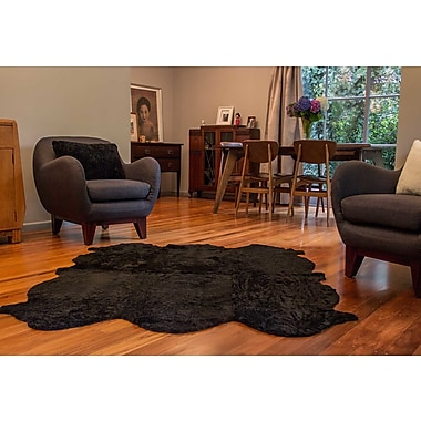 Bowron Sheepskin Curly Zealamb Black Rug; Novelty 5' x 6'