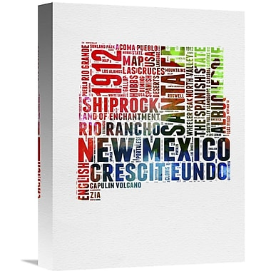 Naxart 'New Mexico Watercolor Word Cloud' Textual Art on Wrapped Canvas; 16'' H x 12'' W x 1.5'' D