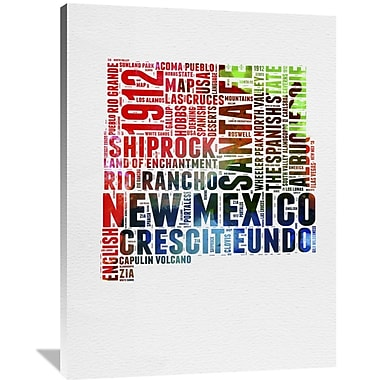 Naxart 'New Mexico Watercolor Word Cloud' Textual Art on Wrapped Canvas; 48'' H x 36'' W x 1.5'' D