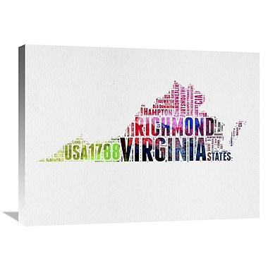 Naxart 'Virginia Watercolor Word Cloud' Textual Art on Wrapped Canvas; 24'' H x 32'' W x 1.5'' D