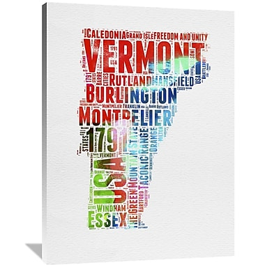 Naxart 'Vermont Watercolor Word Cloud' Textual Art on Wrapped Canvas; 48'' H x 36'' W x 1.5'' D