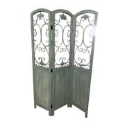 Screen Gems 68'' x 48'' Del Rio 3 Panel Room Divider; Washed Blue