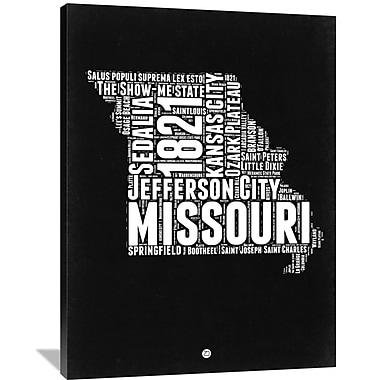 Naxart 'Missouri Black and White Map' Textual Art on Wrapped Canvas; 48'' H x 36'' W x 1.5'' D