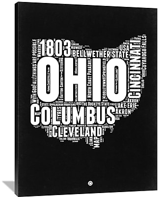 Naxart 'Ohio Black and White Map' Textual Art on Wrapped Canvas; 48'' H x 36'' W x 1.5'' D