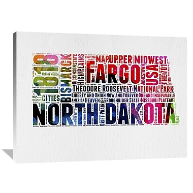 Naxart 'North Dakota Watercolor Word Cloud' Textual Art on Wrapped Canvas; 36'' H x 48'' W x 1.5'' D