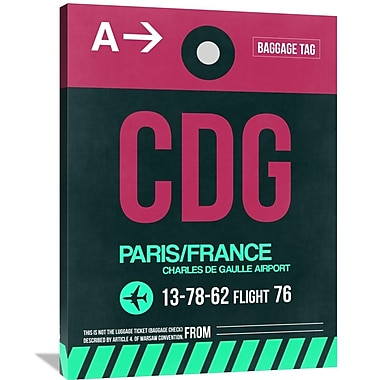 Naxart 'CDG Paris Luggage Tag 1' Graphic Art on Wrapped Canvas; 40'' H x 30'' W x 1.5'' D