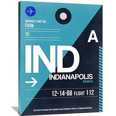 Naxart 'IND Indianapolis Luggage Tag 2' Graphic Art on Wrapped Canvas; 48'' H x 36'' W x 1.5'' D