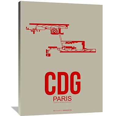 Naxart 'CDG Paris Poster 2' Graphic Art on Wrapped Canvas; 48'' H x 36'' W x 1.5'' D