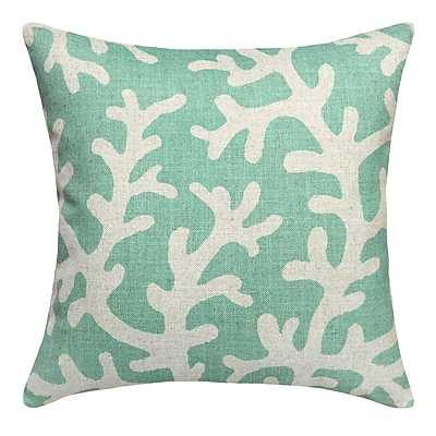 123 Creations Coral Printed Linen Throw Pillow