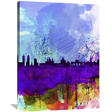 Naxart 'Madrid Watercolor Skyline' Graphic Art on Wrapped Canvas; 40'' H x 30'' W x 1.5'' D