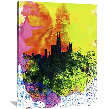Naxart 'Chicago Watercolor Skyline' Graphic Art on Wrapped Canvas; 40'' H x 30'' W x 1.5'' D
