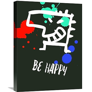 Naxart 'Be Happy Poster 2' Graphic Art on Wrapped Canvas; 24'' H x 18'' W x 1.5'' D