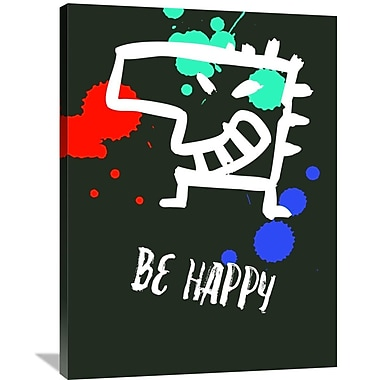 Naxart 'Be Happy Poster 2' Graphic Art on Wrapped Canvas; 32'' H x 24'' W x 1.5'' D