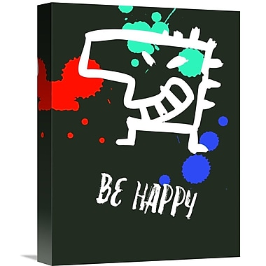 Naxart 'Be Happy Poster 2' Graphic Art on Wrapped Canvas; 16'' H x 12'' W x 1.5'' D