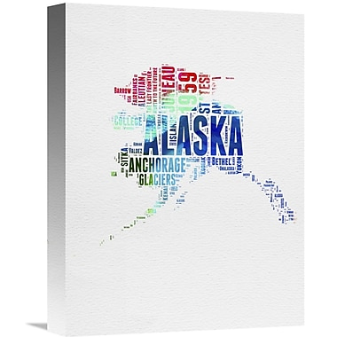Naxart 'Alaska Watercolor Word Cloud' Textual Art on Wrapped Canvas; 16'' H x 12'' W x 1.5'' D