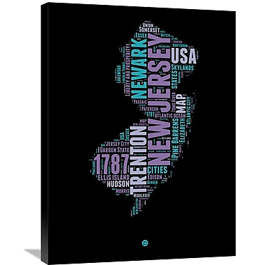Naxart 'New Jersey Word Cloud 1' Textual Art on Wrapped Canvas; 32'' H x 24'' W x 1.5'' D