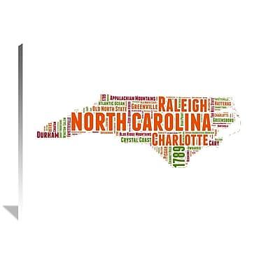 Naxart 'North Carolina Word Cloud Map' Textual Art on Wrapped Canvas; 36'' H x 48'' W x 1.5'' D