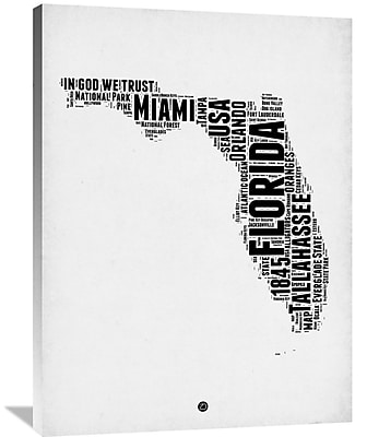 Naxart 'Florida Word Cloud 2' Textual Art on Wrapped Canvas; 40'' H x 30'' W x 1.5'' D
