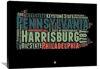 Naxart 'Pennsylvania Word Cloud 1' Textual Art on Wrapped Canvas; 30'' H x 40'' W x 1.5'' D