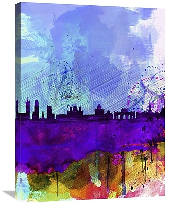 Naxart 'Madrid Watercolor Skyline' Graphic Art on Wrapped Canvas; 32'' H x 24'' W x 1.5'' D