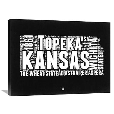 Naxart 'Kansas Map' Textual Art on Wrapped Canvas; 24'' H x 32'' W x 1.5'' D
