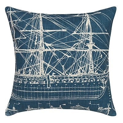123 Creations Tall Ship Printed Linen Throw Pillow