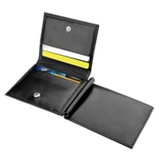 Zodaca Mens Genuine Leather Card Holder with 10 ID credit business card slots - Black