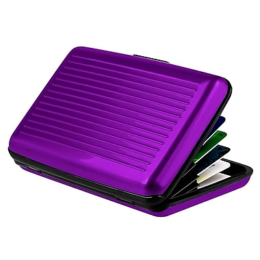 Zodaca Universal Card Holder Case, Purple Aluminum Covering Pocket Business ID Credit Cards Metal box (1406115)