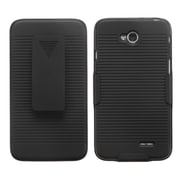Insten Premium V2 Hybrid Case Cover Holster Belt Clip for LG Optimus L70, Black