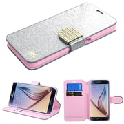 Insten Flip Leather Wallet Glitter Cover Case with Card Slot for Samsung Galaxy S6, Silver/Gold