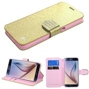 Insten Book-Style Leather Wallet Glitter Case with Stand Card Holder for Samsung Galaxy S6, Gold