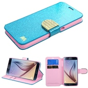 Insten Flip Wallet Leather Glitter Cover Case with stand Card Slot for Samsung Galaxy S6, Blue/Gold