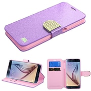 Insten Folio Leather Glitter Case with Card Slot Holder for Samsung Galaxy S6, Purple/Gold