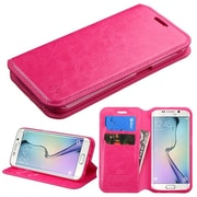 Insten Flip Leather Fabric Cover Case withstand/card slot for Samsung Galaxy S6 Edge, Hot Pink