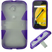 Insten Hard Dual Layer Rubberized Silicone Cover Case withstand for Motorola Moto E (2nd Gen 2015), White/Purple