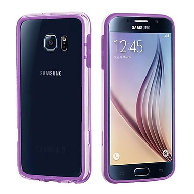 Insten Bumper Case With Shock-Proof Trim For Samsung Galaxy S6, Purple/Transparent Clear (2092065)