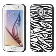 Insten Verge Zebra Hard Hybrid Rugged Shockproof Rubber Silicone Case for Samsung Galaxy S6, Black/White