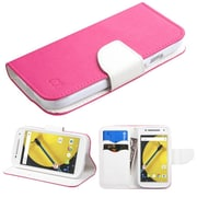 Insten Flip Leather Fabric Cover Case withstand/card slot/Diamond for Motorola Moto E (2nd Gen), Hot Pink/White