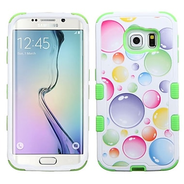 Insten Tuff Rainbow Bubbles Hard Hybrid Silicone Cover Case for Samsung Galaxy S6 Edge, Green/White