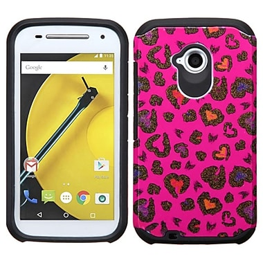 Insten Leopard Hard Dual Layer Silicone Cover Case for Motorola Moto E (2nd Gen 2015), Hot Pink/Black