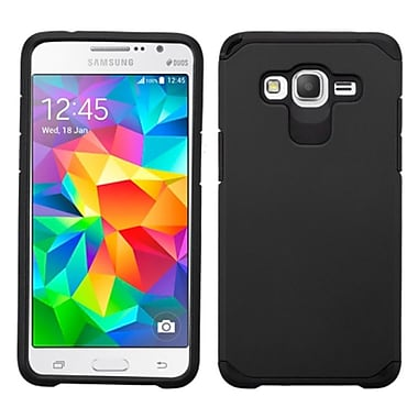 Insten Hard Dual Layer Rubber Coated Silicone Cover Case For Samsung Galaxy Grand Prime, Black (2107618)