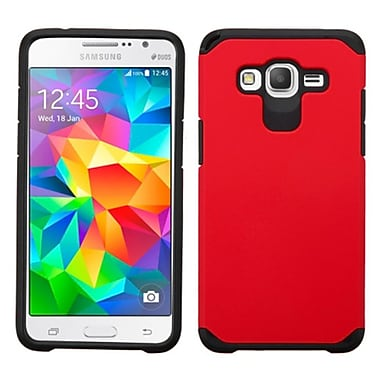 Insten Hard Dual Layer Silicone Cover Case For Samsung Galaxy Grand Prime, Red/Black (2107619)
