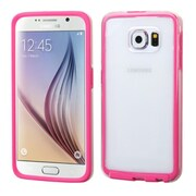 Insten TPU Rubber Candy Skin Case Cover for Samsung Galaxy S6, Clear/Hot Pink