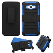 Insten Hard Hybrid Plastic Silicone Case withHolster for Samsung Galaxy Grand Prime, Black/Blue