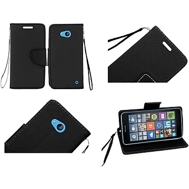 Insten Flip Leather Fabric Case Lanyard With Stand/Card Slot For Microsoft Lumia 640, Black (2112829)