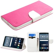 Insten Flip Leather Fabric Cover Case withstand/card holder for LG G Stylo, Hot Pink/White