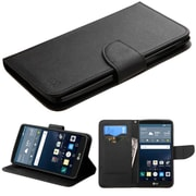 Insten Book-Style Leather Fabric Cover Case withstand/card slot for LG G Stylo, Black
