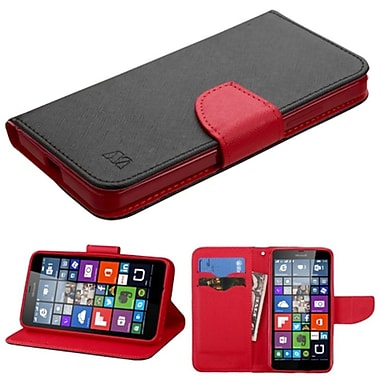 Insten Flip Leather Fabric Case With Stand/Card Slot For Microsoft Lumia 640, Black/Red (2117648)