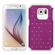 Insten Hard Hybrid Shockproof Rubberized Silicone Case with Stand/Diamond for Samsung Galaxy S6, Purple/White